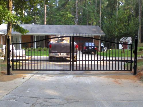 Steel gate with opener