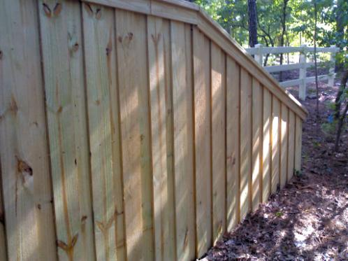 Grayson, GA Board on Boards Wood Capped Fence
