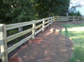 Three Rail Wood Fence - Alcovy Fence