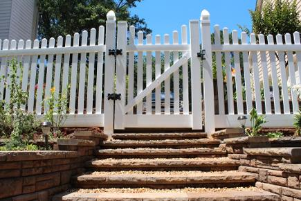 Scalloped picket PVC fence and gate